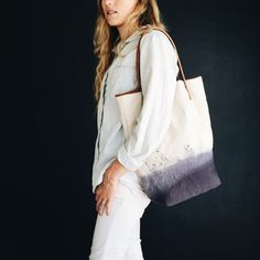 Handmade Dip Dyed Canvas Tote with Leather by ClassroomCollective