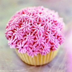 Keep it simple and feminine for your little princess. These cupcakes require only one color of frosting and one decorating tip to create pretty pink flowers. If pink isn't the birthday girl's color, simply tint white frosting to a color that suits her. Tint decorating frosting to desired color and transfer to a pastry bag fitted with a small open star tip. Dot the top of each cupcake with stars to make the allover flower pattern.