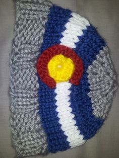 style: fitted custom CO flag beanie color: gray size: adult Mountain Hat, Beanies, Craft Fairs, Hand Knitting, Colorado, Flag, Trending Outfits, Crochet, Hats