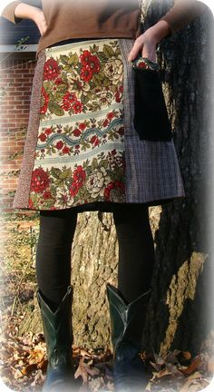 vintage poppy print, red cotton, brown corduroy, two plaid vintage wools ( 2 more fabrics in back):Vintage wool, Corduroy, Vintage twill & accents. 5 panel design for flattering A-line fit; Cinch waists ties in front or back Sturdy cuffed pocket /by RadiantShade