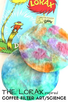 Tie Dyed Coffee Filter Art for Dr. Seuss Science and Lorax Craft Activity Tie Dyed Coffee Filter Art Science Dr. Seuss Inspired The Lorax Dr. Seuss, Dr Seuss Stem, Dr Seuss Art, Dr Seuss Crafts, Dr Seuss Lorax, The Lorax, Preschool Science, Dr Seuss Preschool Art, Science Activities