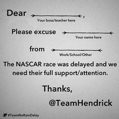 If the race is delayed, we've got you covered. #NASCAR