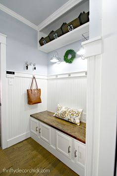 The bright and light mudroom makeover is complete! from Thrifty Decor Chick Cubby Storage, Ikea Storage, Built In Storage, Entryway Storage, Kitchen Storage, Unfinished Kitchen Cabinets, Built In Cabinets, Ikea Mud Room, Ikea Butcher Block
