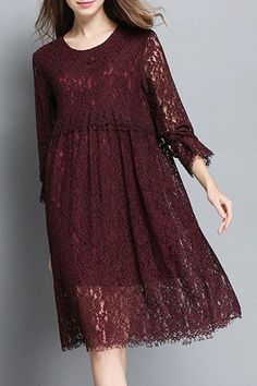 Stylish Jewel Neck 3/4 Sleeve Hollow Out Solid Color Dress For Women