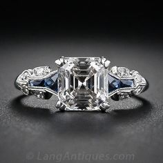 A glorious and glistening classic square emerald-cut - aka Asscher-cut - diamond is the star attraction   circa 1930s