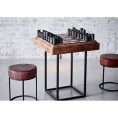 Buy Retro Chess Table With Industrial Metal Black Legs With Wooden Top Metal Chess Players Industrial Made In Solid Steel Checkmate