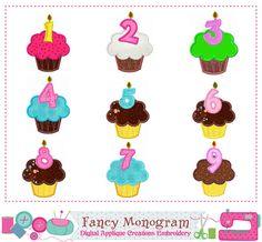 Cupcake Numbers 19 appliqueBirthday Number 19 by FancyMonogram