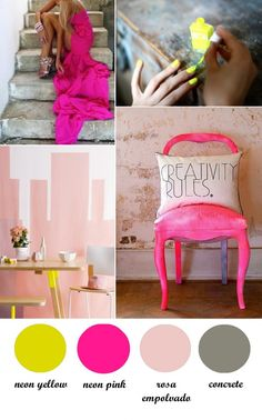 neon and podwer colour palette. #pink #grey #yellow - if you end up going modern :) @Alison Summerfield