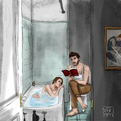 Sabeth   Elisabetta Lo Greco - 2018 Cute Couple Drawings, Cute Couples, Photoshop, Painting, Mobile Wallpaper, Wall Papers, Home, Love Couple, Tumblr Drawings