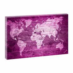 Weltkarte Pink - Kunstdruck auf Leinwand -H-65cmB-100cm