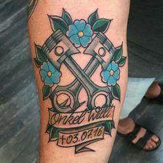 P Tattoo, Car Tattoos, Tattoos For Guys, Sleeve Tattoos, Tatoos, Letter Tattoos On Hand, Old School Wedding, Car Cake Tutorial, Mechanic Tattoo