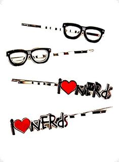 I Love Nerd Glasses Hair Pin Set -- Learn more by visiting the image link.(This is an Amazon affiliate link and I receive a commission for the sales)