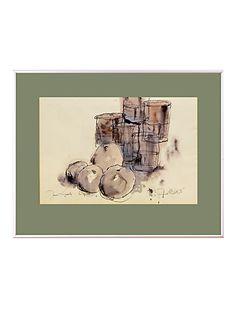 Seine Stilleben Studien bestechen durch die Zartheit der Linienführung und die sanfte Kolorierung, mit der er Die Natur zum Ausdruck bringt.