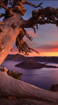 One of the best pictures of Crater Lake I've seen. Crater Lake sunset in southern Oregon Crater Lake Oregon, Beautiful World, Beautiful Sunset, Beautiful Places, Amazing Places, Crater Lake National Park, National Parks, Ville New York, Waterfalls