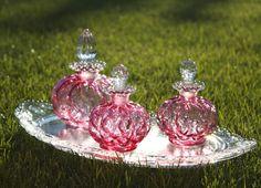 vintage small cranberry perfume bottle
