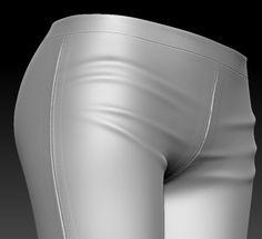 basic leggins detail, Marvelous Designer > Blender > Zbrush Zbrush, 3d Design, Latex, Detail