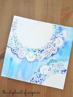 Watercolor doilie...http://the-elephant-of-surprise.blogspot.com/