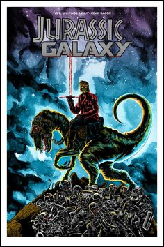 Jurassic Galaxy Jurassic World, Michael Crichton, Science Fiction, Thriller, Last Action Hero, The Stranger Movie, Screen Print Poster, Horror, Galaxy Print