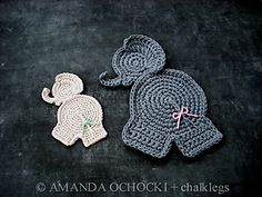 "Elephant Applique Patch Trim/ 7""/ CROCHET pattern"