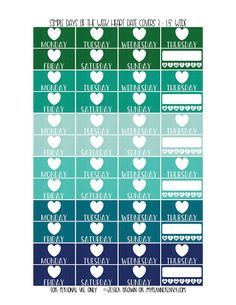 Free Printable Simple Days of the Week Heart Date Covers for the Vertical Erin Condren, Recollections Creative Year, & Classic Happy Planner Page 3 of 6 from myplannerenvy.com. Also available with a Circle instead of a Heart.
