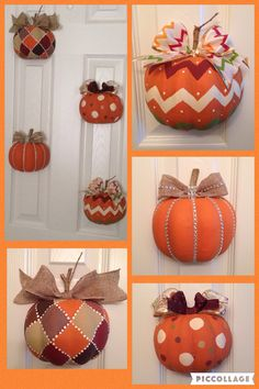 Made pumpkin door display using dollar tree pumpkins                                                                                                                                                     More