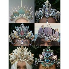 Mermaid crowns ❤ liked on Polyvore featuring accessories, hair accessories and crown hair accessories