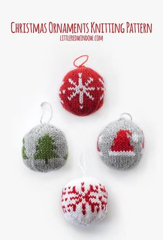 This ADORABLE Knit Christmas Ornament Knitting Pattern includes instructions to make 4 fun round ornaments in North Star, Tree, Santa Hat and Snowflake! - DIY and Crafts Knitted Christmas Decorations, Knit Christmas Ornaments, Ball Ornaments, Christmas Stockings, Christmas Crafts, Snowflake Ornaments, Ornaments Ideas, Xmas, Fair Isle Knitting Patterns