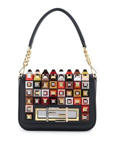 Fendi Baguette Studded Shoulder Bag, Black