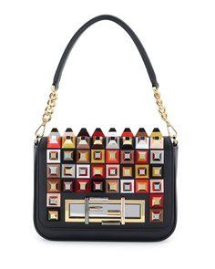 Fendi Baguette Studded Shoulder Bag, Black