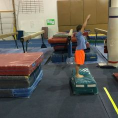 """Working on the """"push"""" part of the back handspring. All About Gymnastics, Boys Gymnastics, Gymnastics Floor, Gymnastics Coaching, Gymnastics Training, Gymnastics Videos, Back Handspring Drills, After School Care, Back Tuck"""