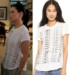 "Elementary season 3 premiere, ""Enough Nemesis to go Around"" fashion: Find out where Joan Watson (Lucy Liu) got her white t-shirt with black graphic print #elementary #lucyliu #joanwatson"