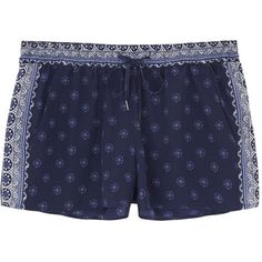 Joie Laraya Printed Silk Shorts ($46) ❤ liked on Polyvore featuring shorts, bottoms, short, navy shorts, joie, silk shorts, pull on shorts and short shorts