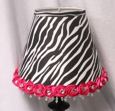 Table Lamp for a girl's room or nursery: zebra, hot pink, black, white. $45.00, via Etsy.