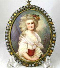 Miniature Oil Portrait Ptg Mme.DuBarry Gilt Frame Sgn; L.A. 19thc Reseller #Miniature