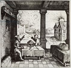 An Astrologer casting a Horoscope, copy of an illustration from 'Utriusque Cosmi Historia' by Robert Fludd, Oppenheim used in a 'History of Magic', published late century (engraving) Astrology Today, Astrology Stars, History Images, Art History, A History Of Magic, Taurus And Aquarius, Esoteric Art, Astrology Numerology, Work Images