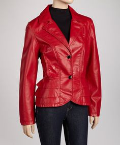Take a look at this Montanaco Red Tier Faux Leather Jacket on zulily today!