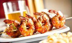 Delicious Light Dinner Ideas: grilled shrimp with whole wheat couscous Frozen Shrimp Recipes, Grilled Shrimp Recipes, Seafood Recipes, Dinner Recipes, Cooking Recipes, Dinner Ideas, Seafood Dishes, Healthy Recipes, Bbq Shrimp Skewers