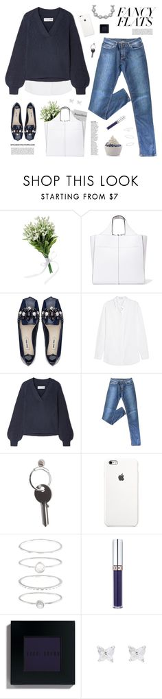 """Fancy Flats"" by mylkbar ❤ liked on Polyvore featuring Victoria Beckham, Acne Studios, Apiece Apart, Prada, Maison Margiela, Disney, Accessorize, Bobbi Brown Cosmetics, Badgley Mischka and fancyflats"