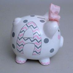 Large Girly Chevron Piggy Bank (2/5)