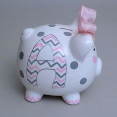 Large Girly Chevron Piggy Bank (2/5)