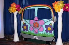 VW Van Front End Photo Op – Ampa Events Hippie Birthday Party, Hippie Party, Birthday Party Themes, 50th Birthday, 60s Party Themes, 1970s Party, Retro Party, Fiesta Flower Power, 60s Theme
