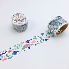 Japanese Washi Tape • Whales and cute fishes are swimming dinamic. Drawn sea world with soft colors. Create adorable projects using this Japanese Washi Tape. They are easy to tear, you can write on it