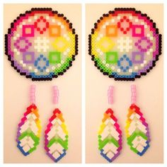Dreamcatcher perler beads by ready_to_rave Easy Perler Bead Patterns, Melty Bead Patterns, Perler Bead Templates, Beading Patterns, Perler Beads, Fuse Beads, Pixel Beads, Iron Beads, Melting Beads