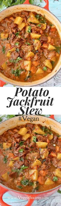 Vegan Potato Jackfruit Stew with Carrots and Gravy Easy Healthy GlutenFree Healthy Recipes, Veggie Recipes, Soup Recipes, Whole Food Recipes, Vegetarian Recipes, Cooking Recipes, Slow Cooking, Easy Recipes, Healthy Food