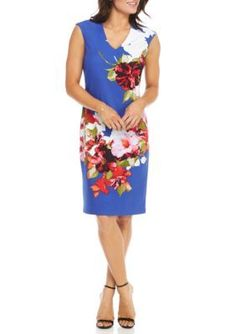 Donna Ricco New York Women's Cap Sleeve Floral Sheath Dress - Royal/White - 4