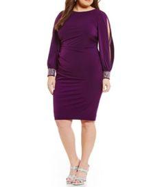 Jessica Howard Jeweled Long Sleeve Tucked Sheath Dress #Dillards
