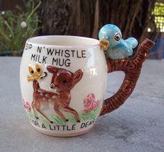 Sip N' Whistle Childs Milk Mug  Circa 1950's  Sip