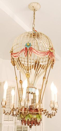 Vintage Hot Air Balloon Chandelier- I feel that this should be in every child's room :)