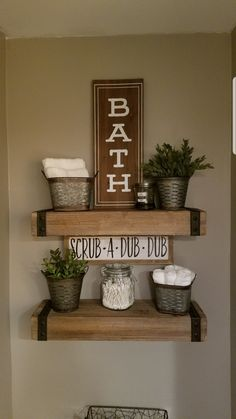 rustic Bathroom Decor 20 DIY Creative Ideas You Should Try For Your Rustic Home Decoration Rustic Bathroom Decor, Farmhouse Decor, Modern Farmhouse, Rustic Bathroom Shelves, Diy Rustic Decor, Rustic Shelves, Modern Country, Decoration Inspiration, Diy Décoration