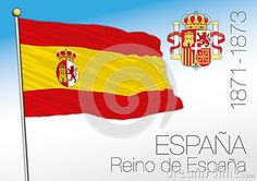 Kingdom of Spain historical flag and coat of arms, 1871-1873, Spain, vector file, illustration